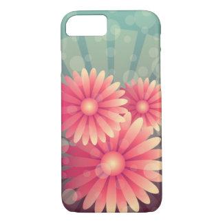 Rosa Blumen und blaue Kreise iPhone 8/7 Hülle