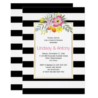 Rosa Blumen und die Dusche Streifen weddingcouples 12,7 X 17,8 Cm Einladungskarte
