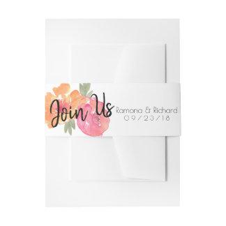 Rosa Blumen verbinden uns Hochzeits-Blume Einladungsbanderole