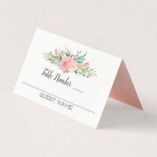 Rosa Blumenblumenstrauß-Gäste und Tischnummern Platzkarte