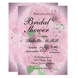 Rosa BlumenBrautparty - Einladung