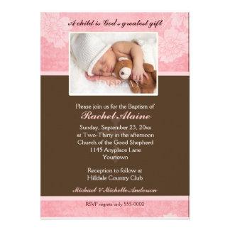 Rosa BlumenFoto-Taufe-Einladung