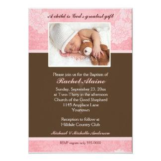 Rosa BlumenFoto-Taufe-Einladung 12,7 X 17,8 Cm Einladungskarte