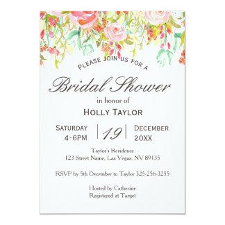 Rosa Blumengarten-Brautparty-Einladung Karte
