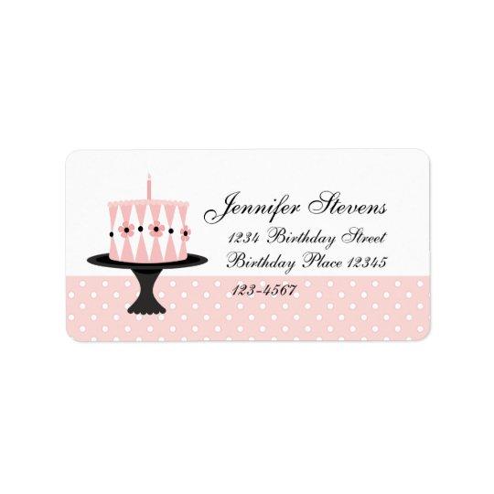Rosa Blumengeburtstags-Kuchen Adressaufkleber