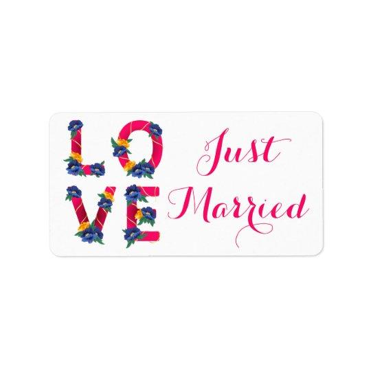 Rosa Blumengerade verheiratete Liebe-Wedding Adressetikett