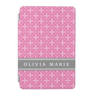Rosa Blumengitter-Muster-Grau-Name iPad Mini Hülle