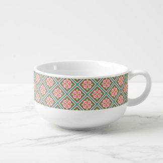 Rosa Blumengitter-Vintages Blumen-Muster Große Suppentasse