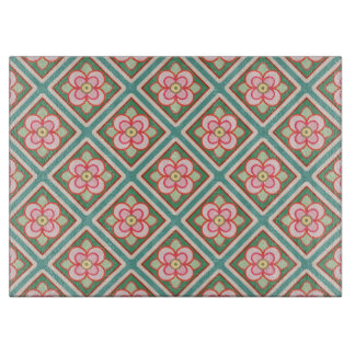 Rosa Blumengitter-Vintages Blumen-Muster Schneidebrett