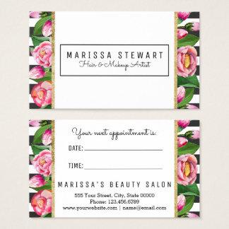 Rosa Blumengold Stripes Visitenkarte