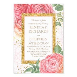 Rosa Blumengoldconfetti-Verlobungs-Party 12,7 X 17,8 Cm Einladungskarte