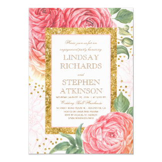 Rosa Blumengoldconfetti-Verlobungs-Party Karte