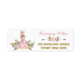 Rosa BlumenHäschen-Babyparty-Adressen-Etikett