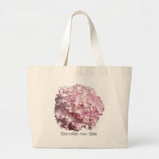 Rosa Blumenhydrangea-Hochzeits-Tasche Jumbo Stoffbeutel