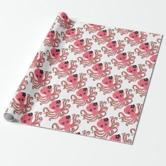 rosa Blumenkunst der Krake Geschenkpapier