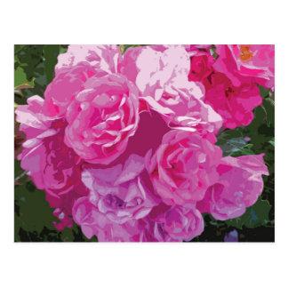 Rosa Blumenkunst Postkarte