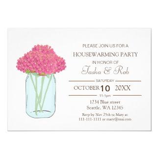 Rosa Blumenmaurerglas Housewarming-Einladung 12,7 X 17,8 Cm Einladungskarte