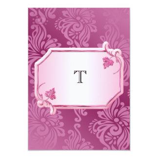 Rosa Blumenmonogramm-Hochzeits-Einladung