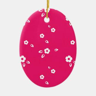 Rosa Blumenmuster Keramik Ornament