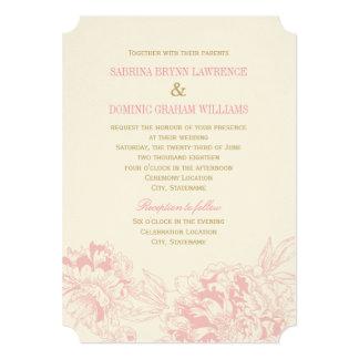 Rosa Blumenpfingstrosen-Entwurf der 12,7 X 17,8 Cm Einladungskarte