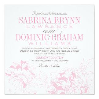 Rosa Blumenpfingstrosen-Entwurf der Quadratische 13,3 Cm Einladungskarte