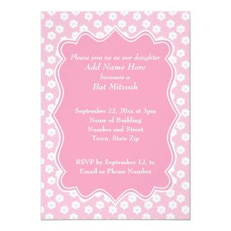 Rosa Blumenschläger Mitzvah 12,7 X 17,8 Cm Einladungskarte
