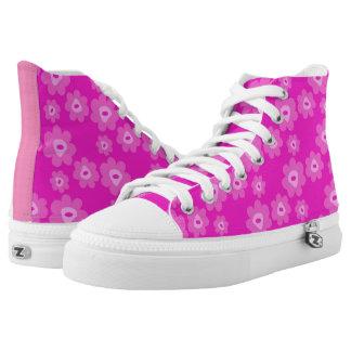 Rosa Blumenschuhes Hoch-geschnittene Sneaker