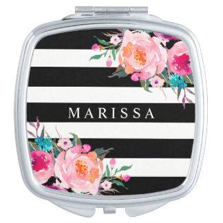 Rosa Blumenwatercolor-Schwarz-weißer kompakter Schminkspiegel