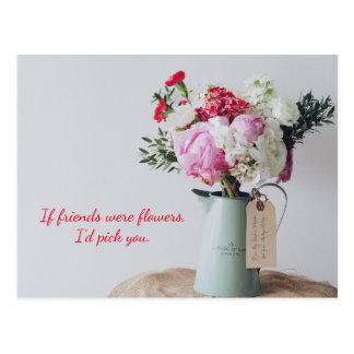 Rosa Blumenzusammenstellungs-Postkarte Postkarte