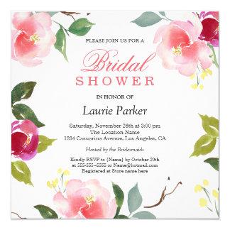 Rosa Blüten-botanische Brautparty-Einladung Karte