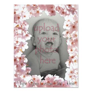 Rosa Blüten-Einladungen personalisierte UAWG 10,8 X 14 Cm Einladungskarte