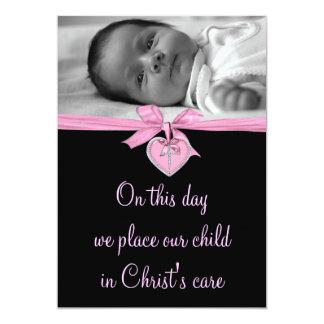Rosa Bogen-Baby-Mädchen-Foto-Taufe 12,7 X 17,8 Cm Einladungskarte