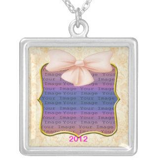 Rosa Bogen-Hochzeits-Silber-Halskette Halskette Mit Quadratischem Anhänger
