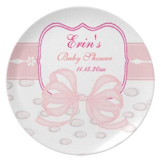 Rosa Bogen-und Blasen-Babyparty Party Teller