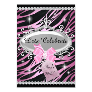 Rosa Bogenzebra-Druck-30. Geburtstag 8,9 X 12,7 Cm Einladungskarte