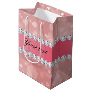 Rosa Bokeh Glitzern und Diamanten personalisiert Mittlere Geschenktüte