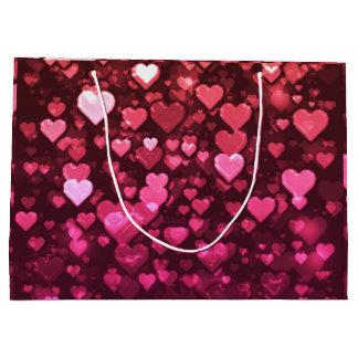 Rosa Bokeh Herz-Digital-Hintergrund-Tapete Große Geschenktüte