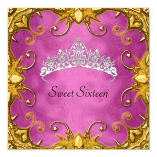 Rosa Bonbon 16 Geburtstags-Party-GoldweißTiara Quadratische 13,3 Cm Einladungskarte