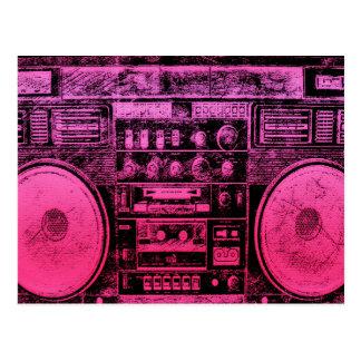 rosa boombox postkarte