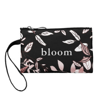 Rosa botanisch auf schwarzer Blüten-Kupplung Kleingeldbörse