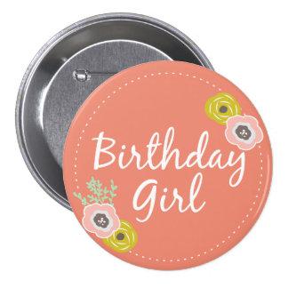 Rosa botanischer Geburtstags-Mädchen-Knopf Runder Button 7,6 Cm