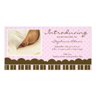 Rosa Braun stripes neue Babymitteilung der Punkte Photokarten