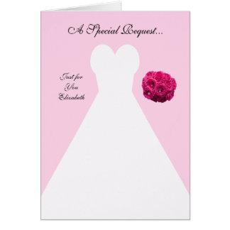 Rosa Brautjungfern-Einladungs-Karte -- Brautkleid