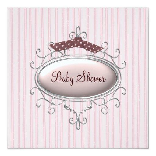 Rosa Brown-Baby-Dusche Einladungskarte