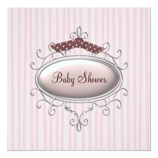 Rosa Brown-Baby-Dusche Quadratische 13,3 Cm Einladungskarte