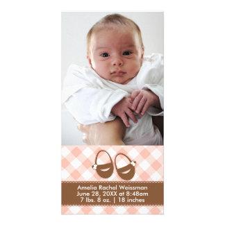 Rosa/Brown-Baby-Hintern - Fotokarte-Mitteilung Foto Grußkarte