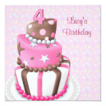 Rosa Brown-Kuchen-Mädchen-4. Geburtstags-Party Personalisierte Ankündigung
