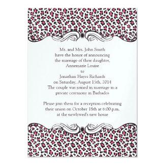 Rosa Brown-Leopard-Posten-Hochzeit 14 X 19,5 Cm Einladungskarte