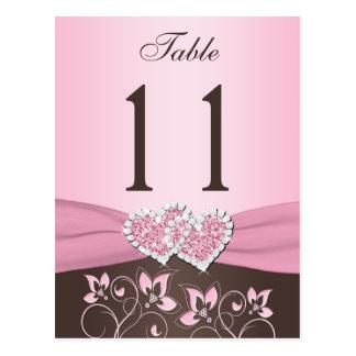 Rosa Brown mit Blumen Herz-Tischnummer-Postkarte