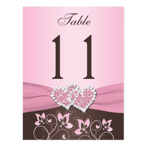 Rosa, Brown mit Blumen, Herz-Tischnummer-Postkarte